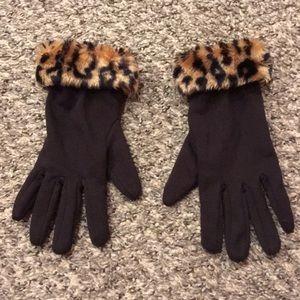 Accessories - Leopard Print Faux Fur Trim Fashion Gloves 🧤